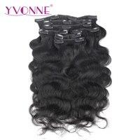 YVONNE CHEVEUX Corps Vague Brésilienne Vierge de Cheveux Clip En Extensions de Cheveux Humains 16-22 pouces 7 Pièces/ensemble Naturel Couleur 120 g/ensemble