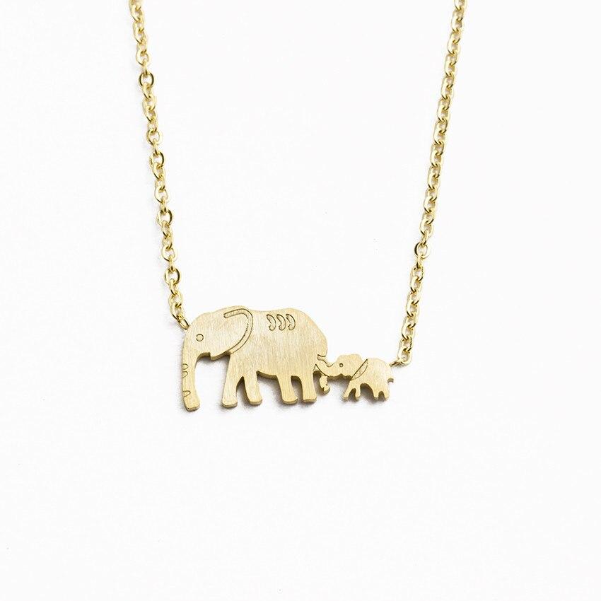 nuevo concepto 973c6 7b80c € 1.48 30% de DESCUENTO|Buena suerte doble elefante collares Acero  inoxidable cadena de oro Animal padre madre bebé elefante colgante familia  joyería ...