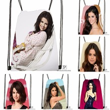 Custom Selena Gomez  Drawstring Backpack Bag Cute Daypack Kids Satchel (Black Back) 31x40cm#180531-02-61