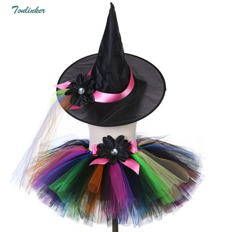 Halloween Little Girls Tutu Dress Witch hat With Skirts Cosplay Costume 2-8 Years 2018 New