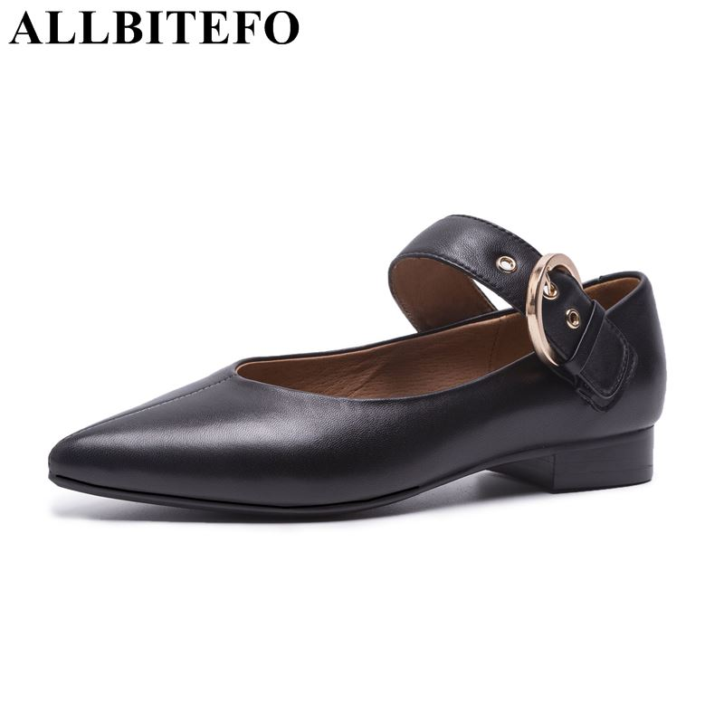 ALLBITEFO full genuine leather pointed toe thick heel women pumps fashion buckle high heels women shoes girls shoes Sra zapatoALLBITEFO full genuine leather pointed toe thick heel women pumps fashion buckle high heels women shoes girls shoes Sra zapato
