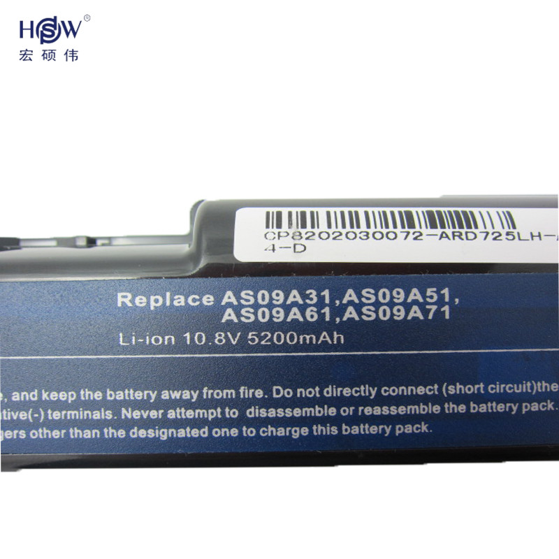 HSW 6cell laptop battery for Acer Aspire 5732 4732Z 5516 5517 AS09A31 AS09A41 AS09A51 AS09A61 AS09A71 AS09A75 Emachine D525 D725 in Laptop Batteries from Computer Office