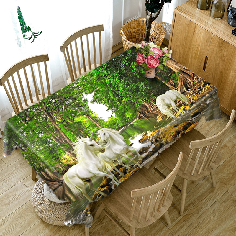 Modern Simplicity 3d Round Tablecloth for Dining Table White Animal Horse Pattern Thicken Cotton Rectangular Table cloth in Tablecloths from Home Garden
