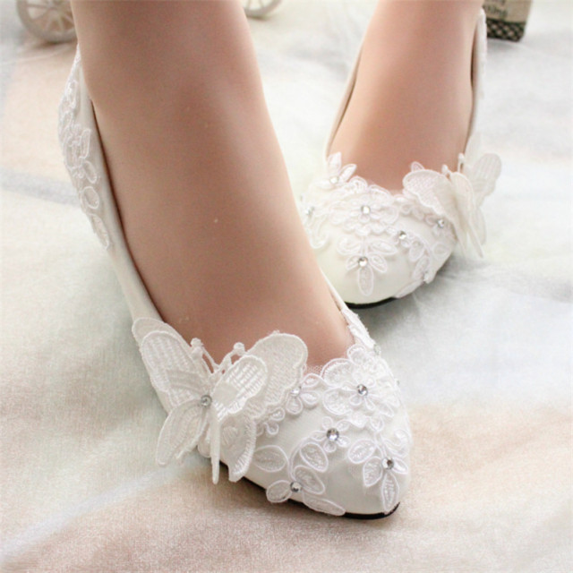 5cm Heels Women Ivory White Bridesmaid Lace Wedding Shoes Bridal Party Dress