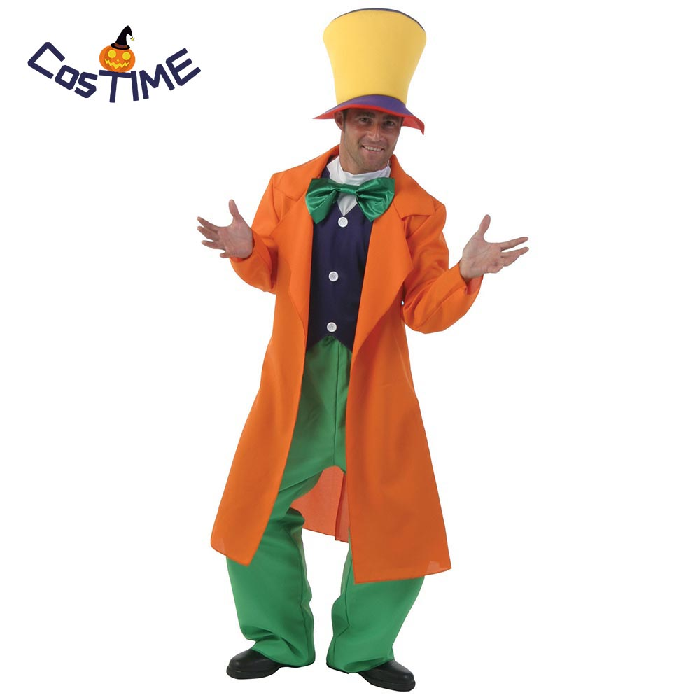 Adult Alice In Wonderland Costume Mad Hatter Cosplay Clown Magician Halloween Carnival Party Costumes Fantasias Outfit