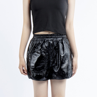 2019 autumn black sheepskin leather shorts women genuine leather short feminino plus size casual shorts