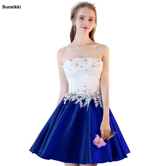 Suosikki 2018 כדור שמלת נשף אלגנטי שמלת חרוזים מתוק חיל הים הכחול קצר שמלות סיום הערב רשמי שמלה לנשף
