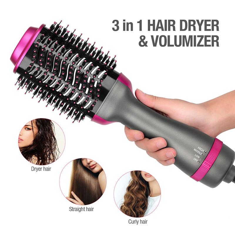 Multifunctional Hot-Air Brushes 3 In 1 Volumizer Hair Straightener Combs Curler