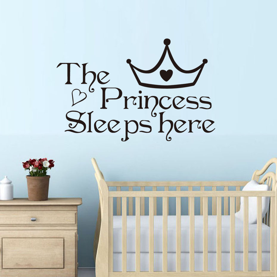 Bedroom wall decoration for kids - Dctop The Princess Sleep Here Wall Stickers For Kids Room Wall Decals Home Decor Wall Art