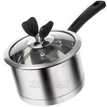 Dia 16cm Butter Warmer Stainless Steel Saucepan with Cover Coffee Decanter Warmer Small Butter Melting Pot Nonstick Butter Pan