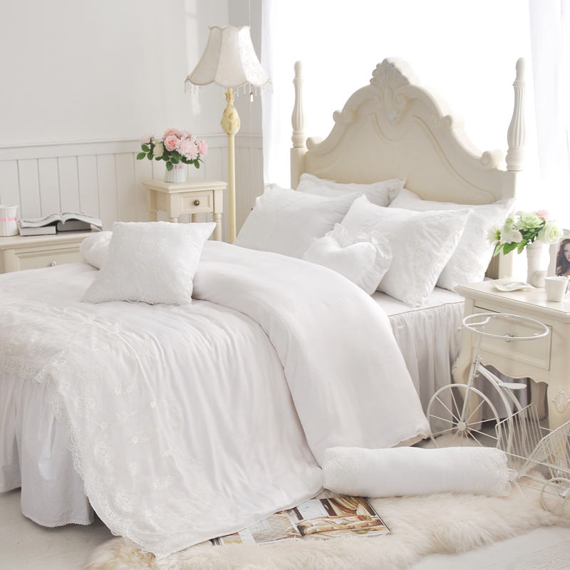 blanc dentelle volants ensembles de literie de coton 4 pcs princesse housse de couette. Black Bedroom Furniture Sets. Home Design Ideas