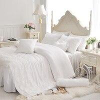 White Lace Ruffle bedding sets cotton 4pcs Princess duvet cover Romantic Wedding bedspread bed skirt solid color bedclothes set