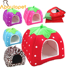 High Quality Dog House Soft Strawberry Cat Rabbit Bed House Kennel Doggy Warm Dog Cushion Basket for Puppy Home