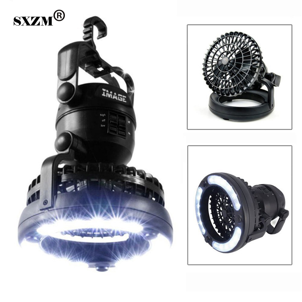 Sxzm Camping Light Portable 2 In 1 Led Ceiling Fan With Emergency Light Flashlight Portable