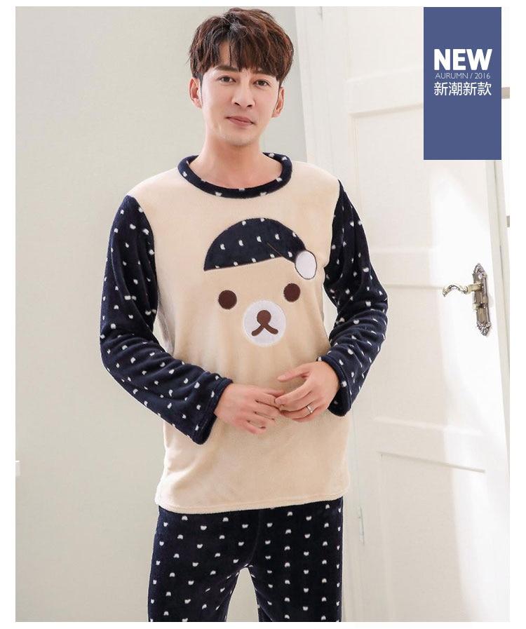 Thick Warm Cute Cartoon Flannel Pajama Sets for Men 2018 Winter Long ... 81337bbdf