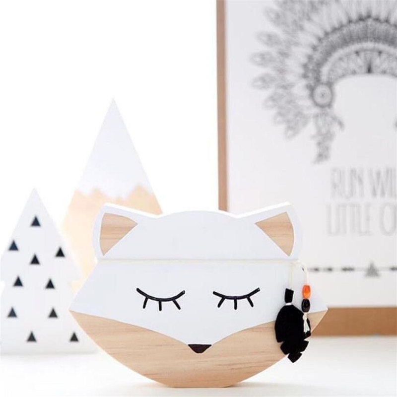 Wooden Animal Fox Decoration Wall Art Ornaments For Nursery Kids Room Decor Nordic Scandinavian Style Photography Props Supplies