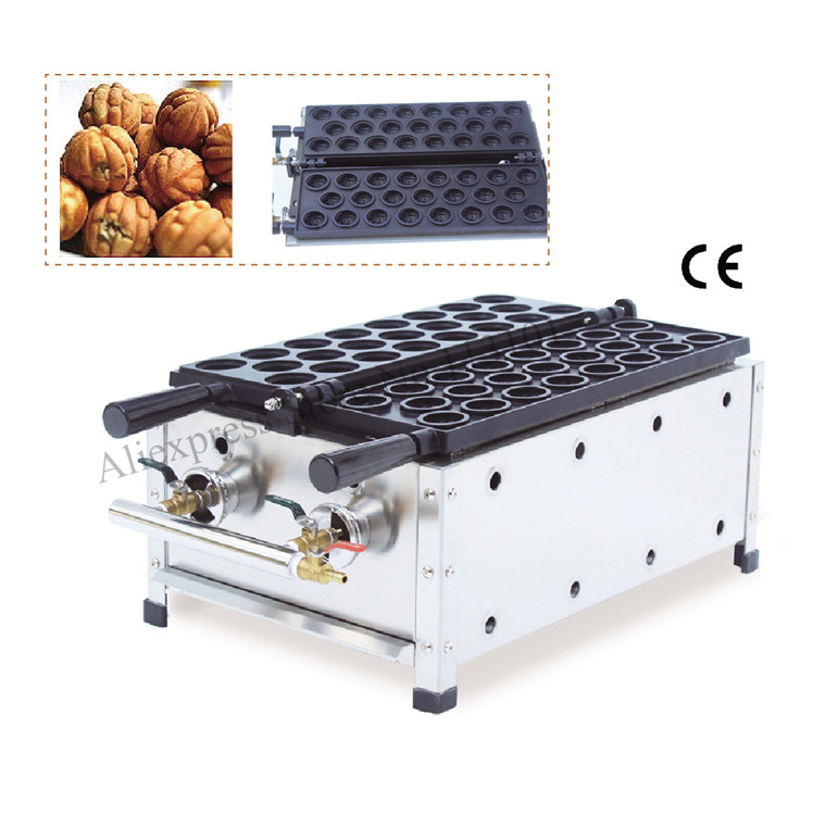 Gas walnut-shape waffle making machine gas type fun walnut waffle maker with non-stick surface 23pcs walnut waffle moulds