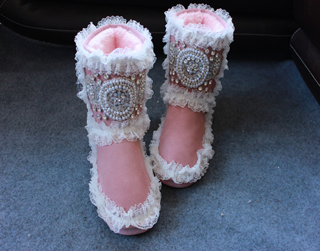 D'hiver as 16 As Neige Conception Botte Pour Femme Strass Shown Rose Couleurs Dentelle Chaud Shown Femmes Bottes Cheville Chaussures BwHCB