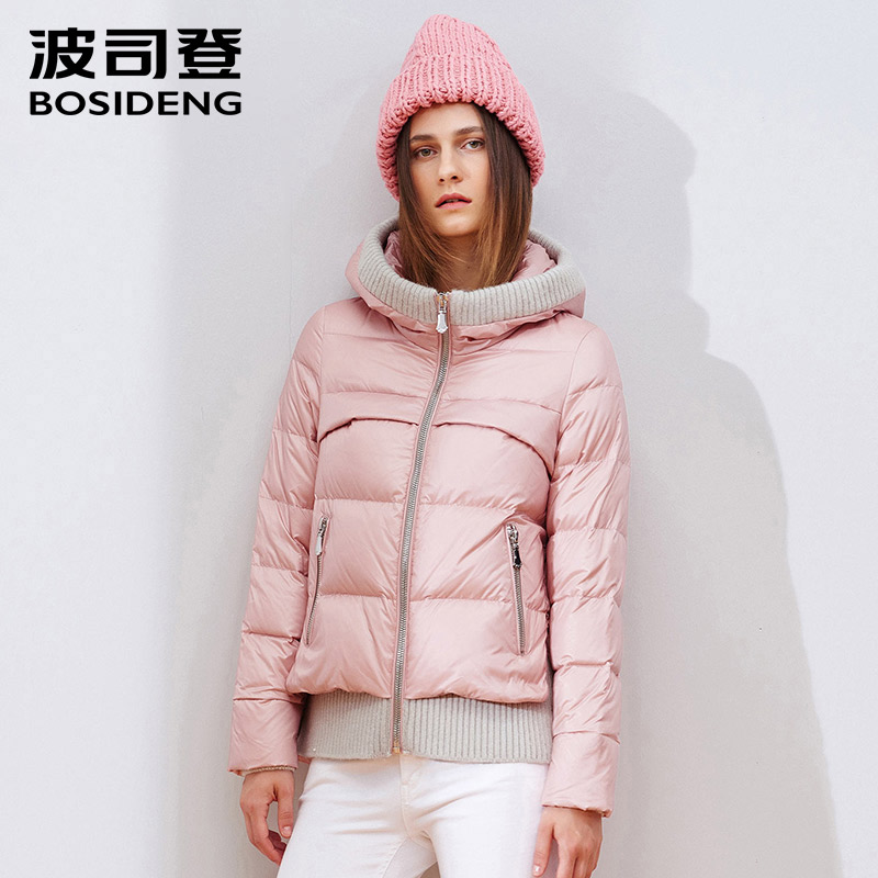 BOSIDENG 2018 women winter   down     coat   thick hood   down   jacket knit hem warm outwear loose high quality B1501066