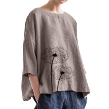 Women Cotton Printing Blouses Casual Plus Size Linen Loose Daily Blouse Beach Simple Ladies Streetwear Shirt Tops#Gu(China)