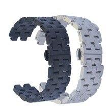22มม.ผีเสื้อสแตนเลสสายคล้องคอนาฬิกาสายคล้องคอสร้อยข้อมือสำหรับPebble Steel 2 Smart Watch