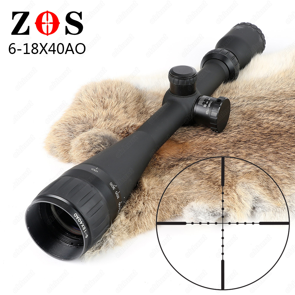 ZOS 6-18X40 AO Mil Dot Reticle Riflescope Classic Tactical Optical Sight For Hunting Rifle Scope With Lens Cover zos 3 12x40 ao mil dot reticle riflescope classic tactical weapon optical sight for hunting rifle scope with lens cover
