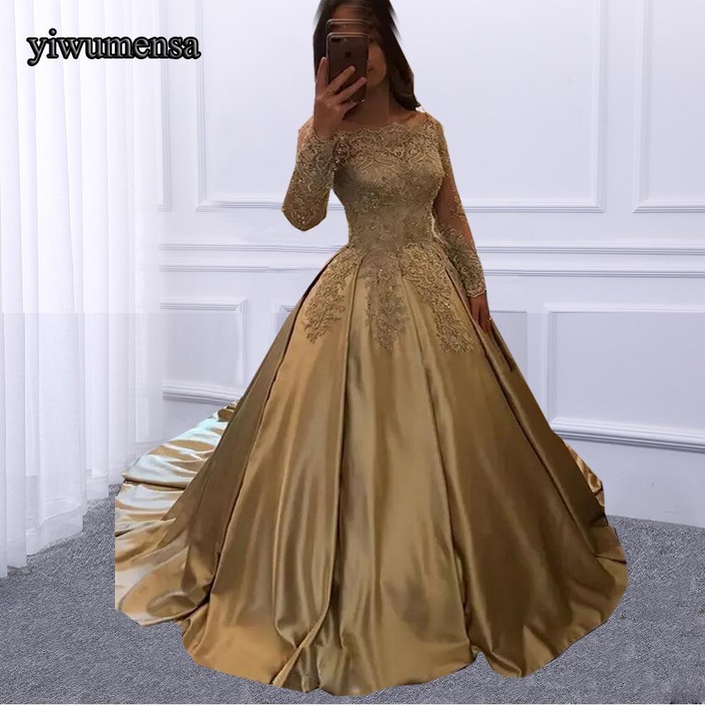 robe de bal longue Gold Prom dress Long 2018 Factory Custom made ...