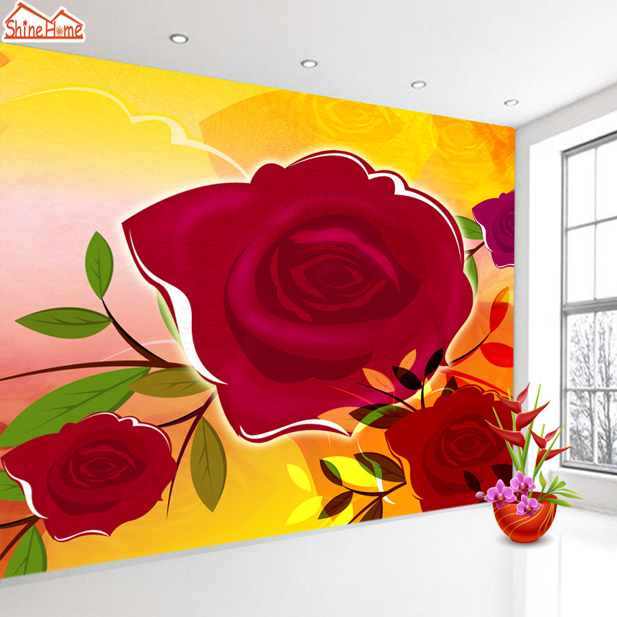 ShineHome-Red Rose Bloom Golden Golden Wallpaper for 3d Rooms Walls Wallpapers for 3 d  Living Room Wall Paper Murals Mural Roll shinehome seascape forest lake in sunset wallpaper rolls for 3d walls wallpapers for 3 d living rooms wall paper murals roll