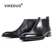 VIKEDUO Handmade Patina Boots Men Black Genuine Calf Leather Mens Ankle Square Toe Tassel Wedding Office Footwear Botas