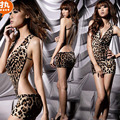 Mulheres quentes Lingerie Sexy Vestido Sem Costas Leopardo Corrente de Prata presente Noite Sexy Pijamas Camisola Traje Uniforme Sexy Sem Encosto