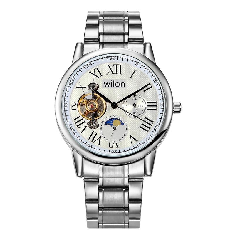 2018 Wilon Brand Mens Watches Automatic Self-wind Mechanical Watch Tourbillon Stainless Steel Luxury Wristwatches Relojes Hombre чайник supra kes 1724 white grey