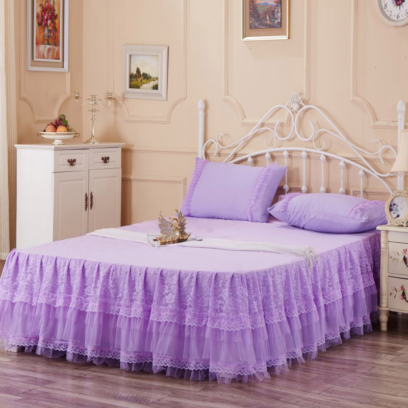 Bed Skirts Lace Skirt Queen Size 150x200cm Romantic Bedspread Purple Piece Free