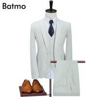 Batmo 2017 new arrival High quality linen trắng quan hệ nhân quả men của suis, wedding dress suit nam, người đàn ông của phù hợp với kinh doanh, cộng với-kích thước S-5XL