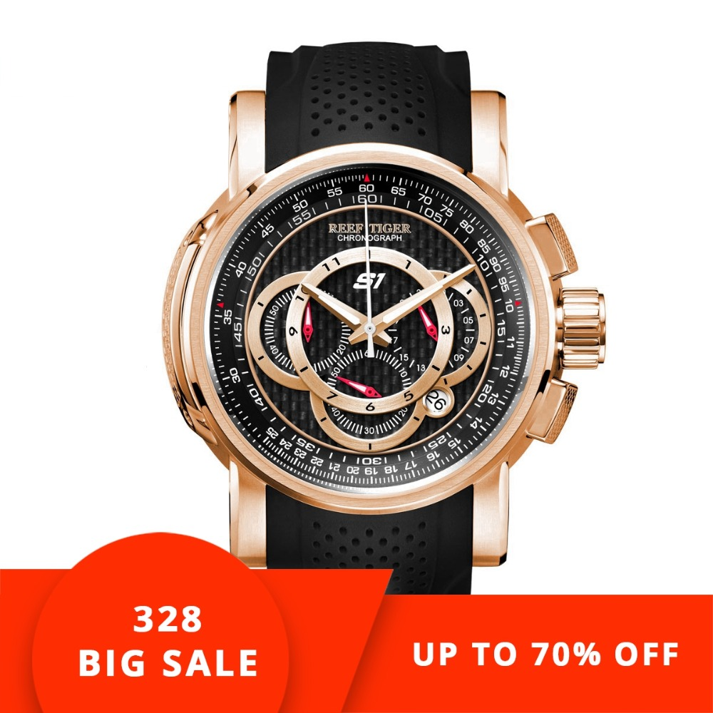8d68c48d4a18 Reef Tiger RT Designer Sport Watches for Men Rose Gold Quartz Watch with  Chronograph and