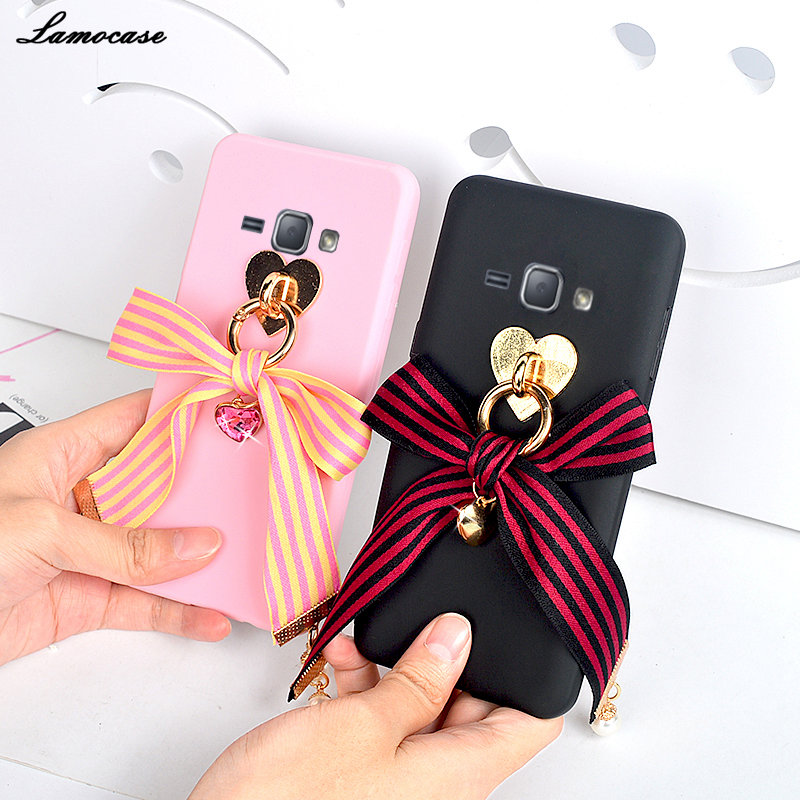 3D Kawaii бантом в полоску чехол для samsung Galaxy S9 S8 A8 A6 плюс J2 Pro J6 J4 2018 Примечание 8 j7 J5 J3 2017 Ленточки Подвеска Cover