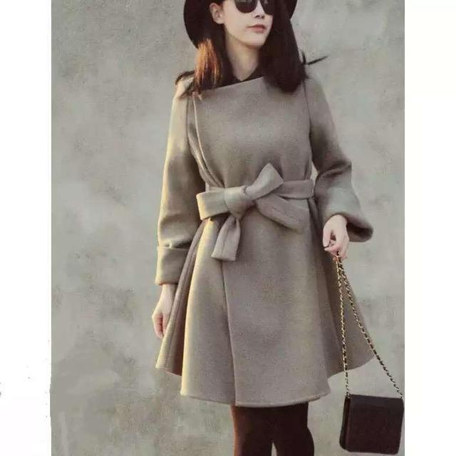 Trench Woolen Coat  Plus Size Long Coats Autumn Winter New Women Sweet  Women Jacket Outerwear Full Sleeve Solid High Quality