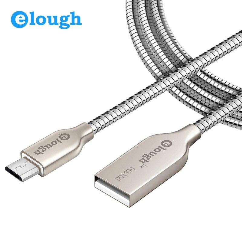 Elough 2.4A быстро Зарядное устройство из металла Micro USB кабель для iPhone 6 <font><b>Samsung</b></font> S6 <font><b>S5</b></font> мобильного телефона Meizu зарядный шнур micro USB кабель