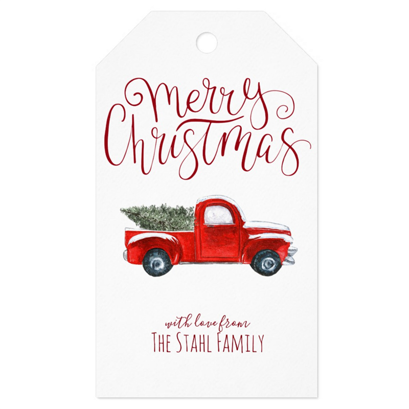 Personalized Christmas Gift Tags: Personalized Christmas Gift Tags Vintage Red Truck Thank