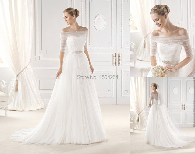 Us 179 99 A Line Tulle Simple Wedding Dresses With Beading Off The Shoulder Half Sleeves Wedding Gowns Court Train Size 2 4 6 8 10 12 14 In