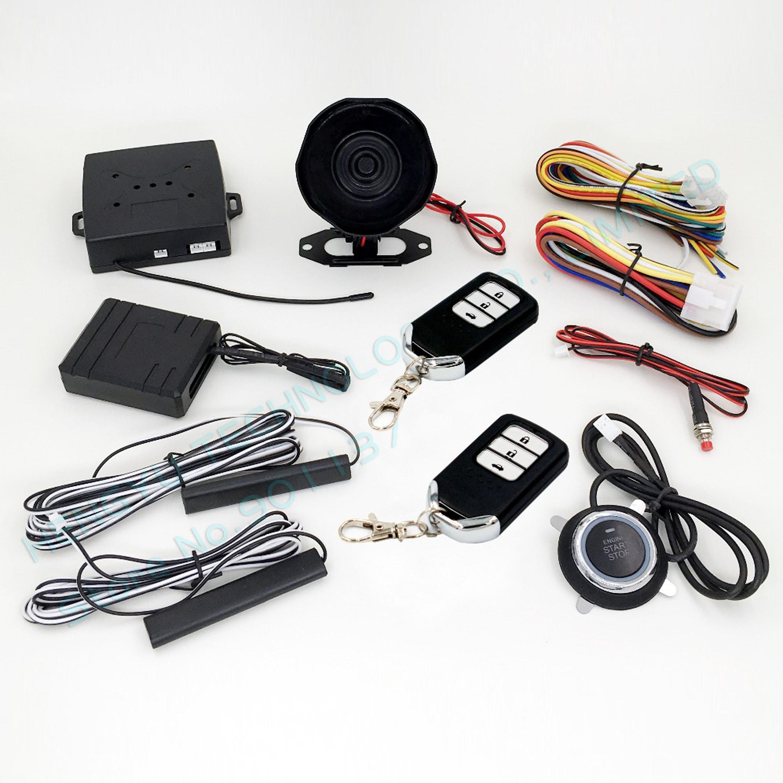 RFID car alarm smart key security system PKE antenna push button start stop button bypass keyless