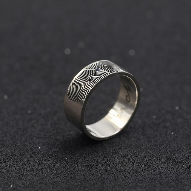 e7bc27d96b Fingerprint Men Ring Custom Name Solid Silver Engagement Rings Engraved  Pattern Name Lover Ring Christmas Memorial Gift