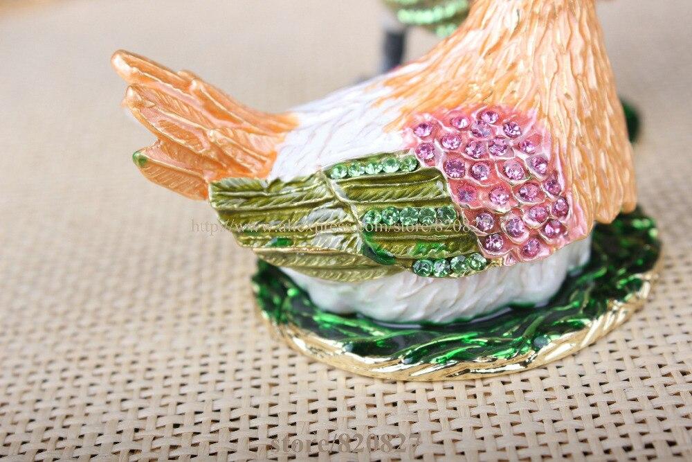 Boîte à bibelots coq & poulet décoré poulet poussin artisanat étain émail cristal poulet bibelot boîte pour bijoux anneau tenant - 6