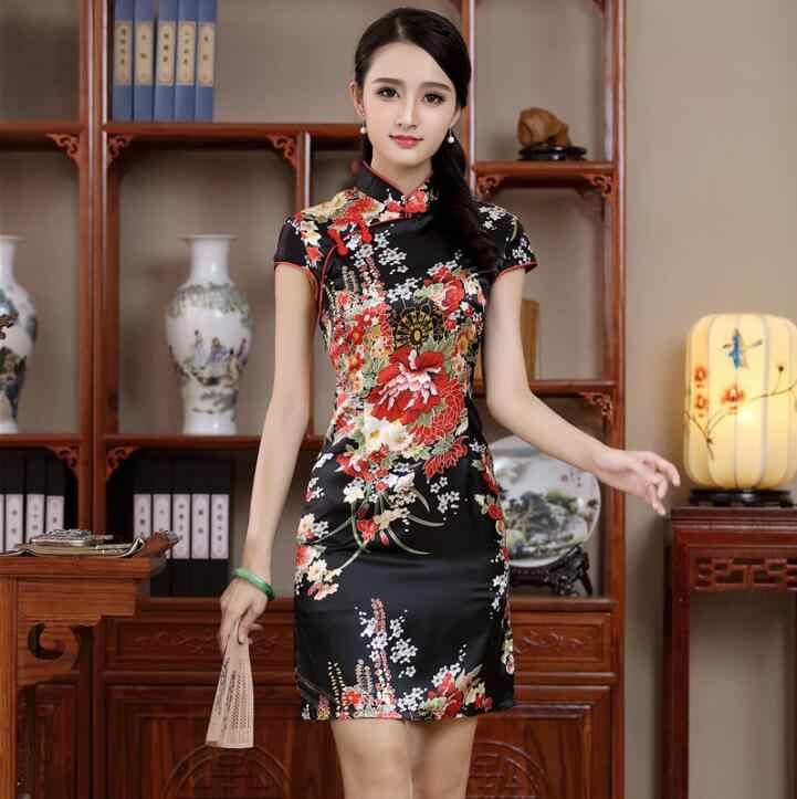 Elegant Female Mandarin Collar Qipao Sexy Mini Evening Party Club Wear  Cheongsam Classic Print Flower Dress ea61888d7406