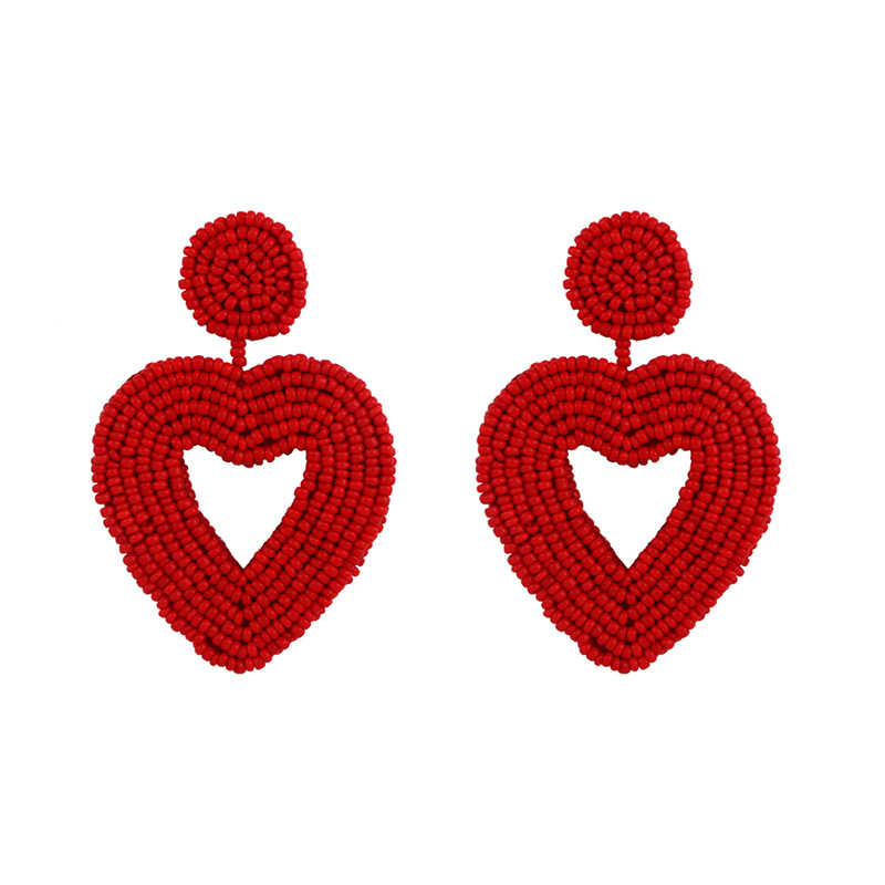 Ręcznie robione serce kolczyki z koralików Boho Beach duże złote kolczyki z koralików oświadczenie damskie kolczyki biżuteria ers-q19