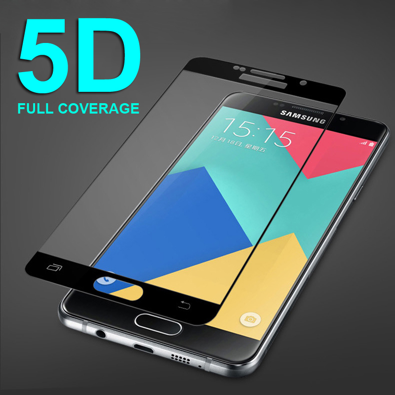 5D Tempered Glass on the For Samsung Galaxy A5 A7 A3 J5 J3 J7 2016 2017 A510 A520 Full Cover Screen Protector Film 9H Protective