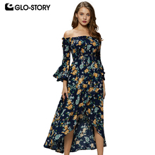 GLO-STORY Women Off the Shoulder Middle Sleeve Fashion Summer Beach Dress Woman  Maxi Long Floral Dresses 6309