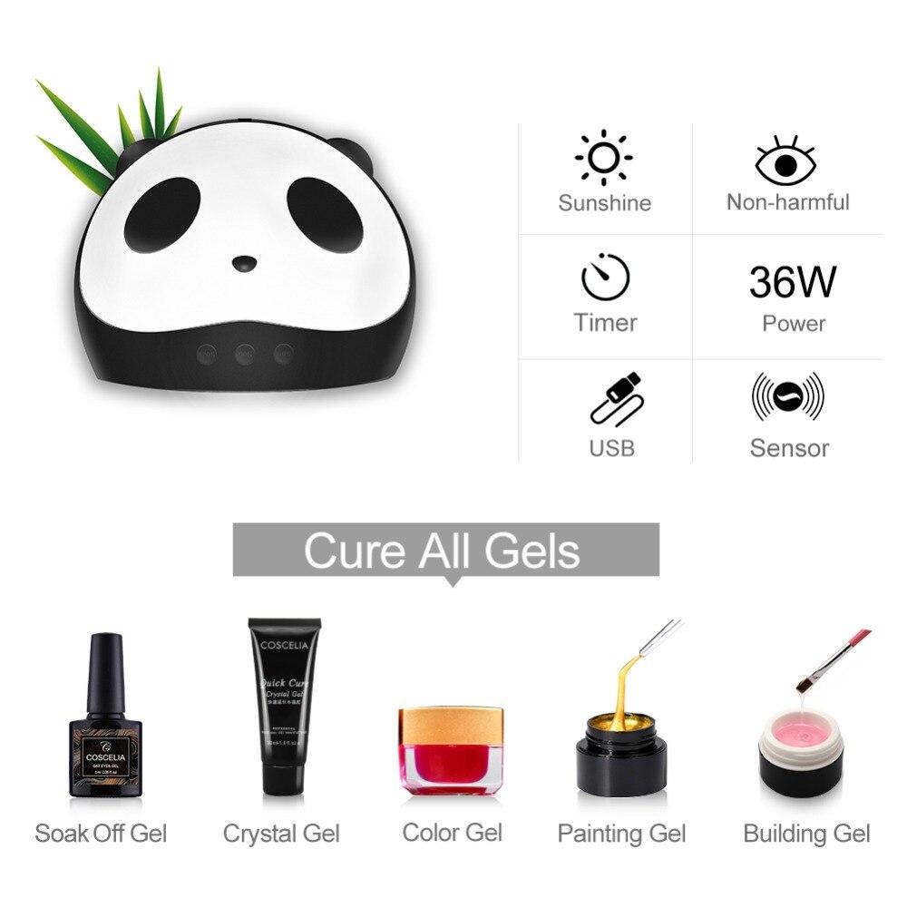 36W COSCELIA Cute Panda Uv Led Lamp For Manicure Two Light Sources Sense Lamp Drying Nail Polish Manicure 12 Leds Dryer For Nail