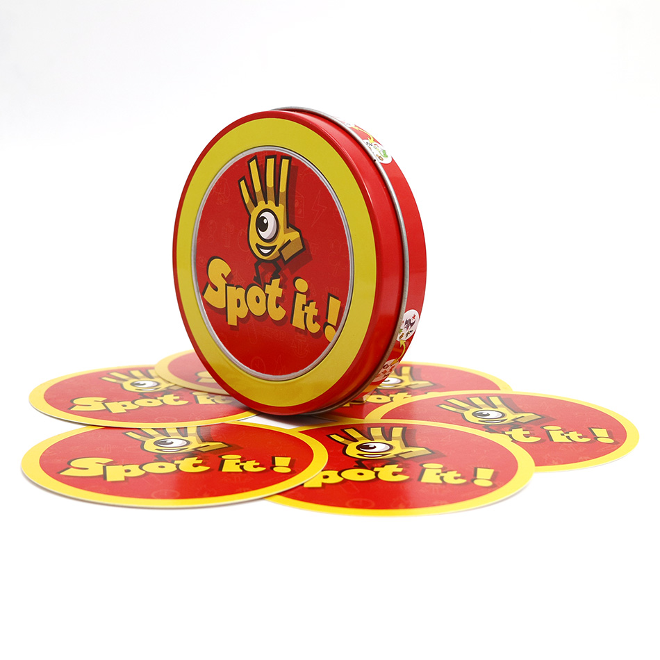 Newest high quality spot it cards game with metal box best gift for the family gathering ...