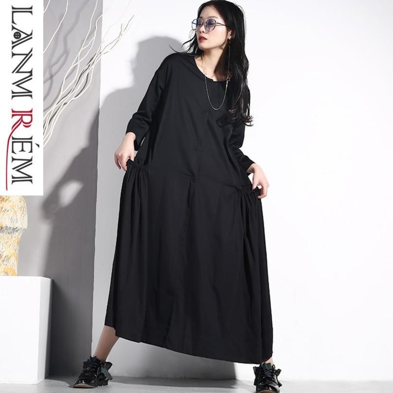 LANMREM 2019 femmes printemps été col rond noir lâche poche robe plissée grande taille femme mode haute qualité vêtements JO577