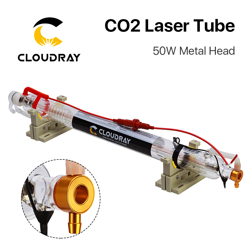 Cloudray Upgraded CO2 laser tube Metal Head 1000MM 50W Dia 50 Glass Pipe Lamp for CO2